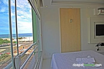 Modern vacation apartment overlooking Copacabana beach.